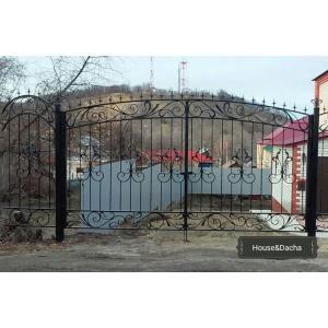 Ворота с элементами художественной ковки, ворота художественная ковка, ворота с ковкой, ворота из металла недорого, www.domaning.ru, купить ворота в Раменском районе, House&Dacha, изготовление ворот под заказ,